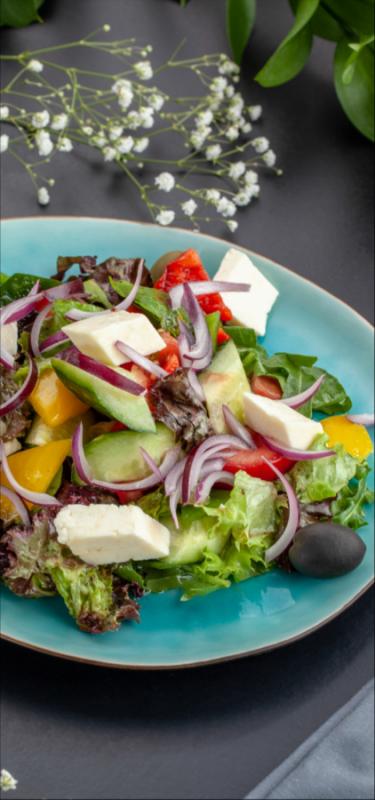 Овощной салат с домашней брынзой